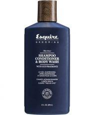 3 в 1 Шампоан, балсам и душ гел за почистване и хидратиране на мъжката коса, скалп и тяло Esquire All in One 414ml
